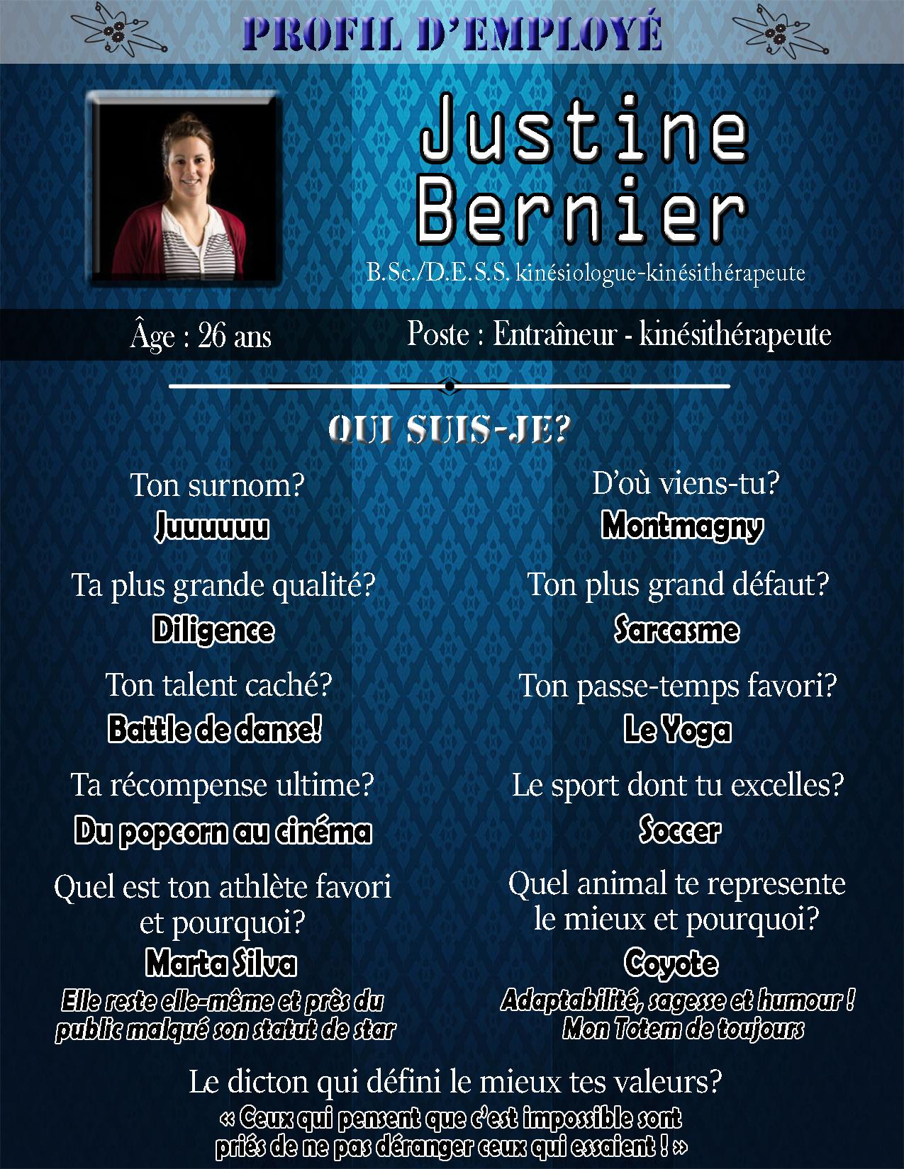 Profil Justine Bernier